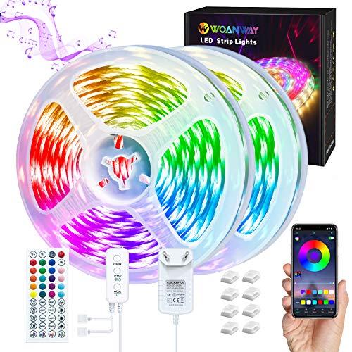 LED Strip 10M RGB,WOANWAY LED Streifen mit Bluetooth APP Musik und Mikrofonsteuerung,led band mit Steuerbar Farbwechsel Lichtband mit 44 Tasten Fernbedienung,5050SMD Led stripes für Party/Heim/TV