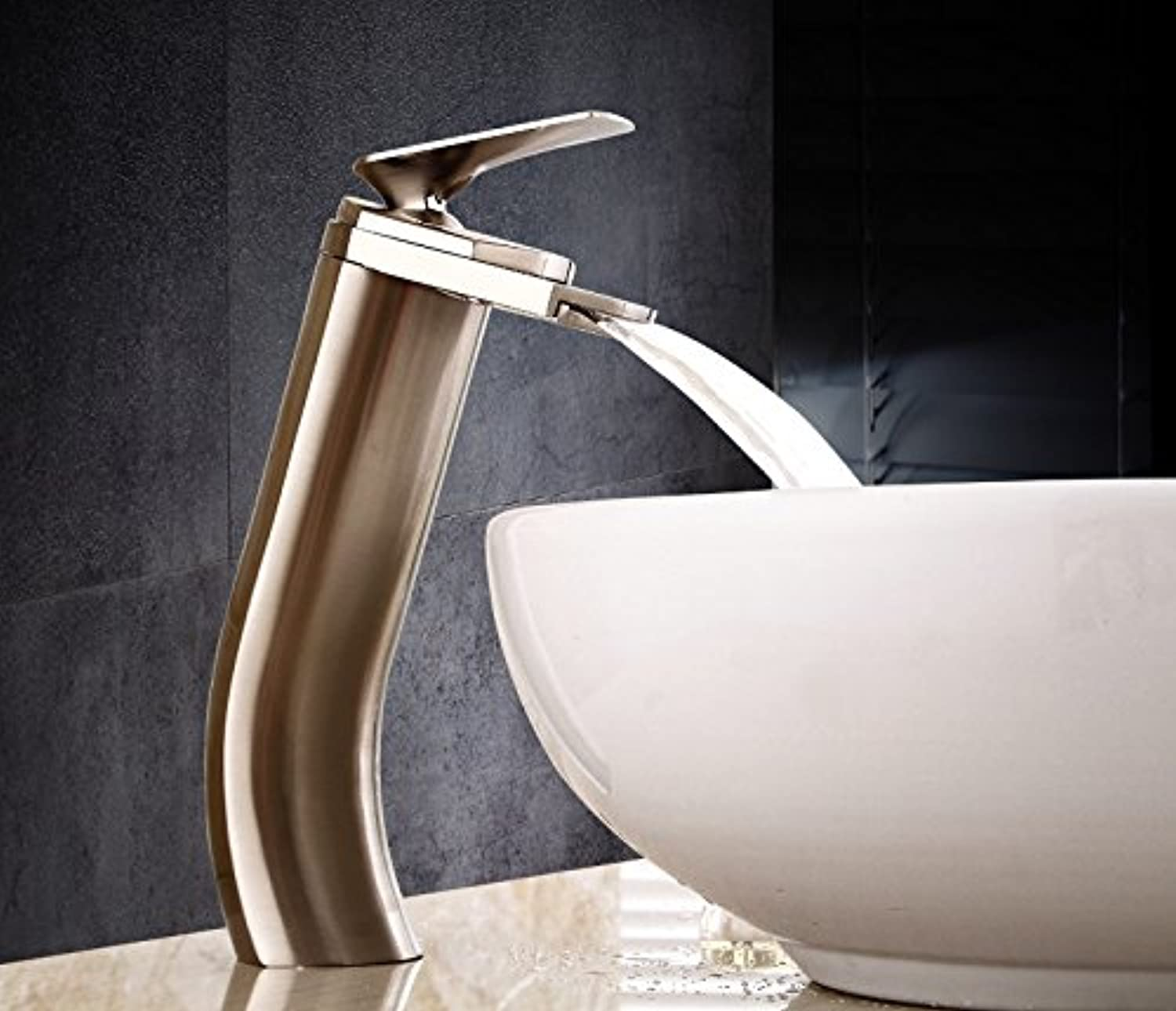 Bijjaladeva Antique Bathroom Sink Vessel Faucet Basin Mixer Tap The copper hot and cold basin faucet single hole waterfall brushed