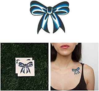 Tattify Blue Bow Temporary Tattoo - Blue Ribbon (Set of 2) - Other Styles Available - Fashionable Temporary Tattoos