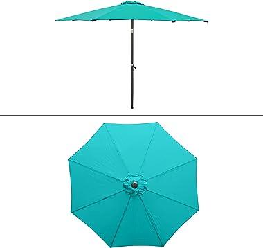ECD Germany Parasol de Jardin Parapluie Turquoise Ø300 cm Manivelle et Mécanisme d'Inclinatison Réglable Rond Aluminium P