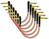 6unidades–Mini ELC de Lava (naranja)–6cm–efectos para guitarra o bajo instrumento, Cable de conexión con Premium–chapado en oro, de bajo perfil, en ángulo recto panqueque tipo conectores TS (6,35mm)
