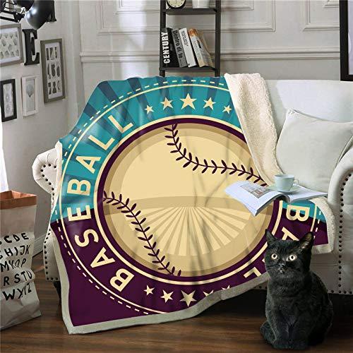 STJZXHN Mantas,Ropa de Cama Mantas Suaves de Cama Doble,Edredón cálido de Viaje de impresión Digital en 3D de béisbol,Colcha de sábanas de Invierno de tamaño Queen,para sofá Cama,Manta de Felpa,150×2
