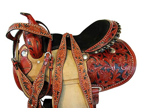 Orlov Hill Leather Co Custom Made Barrel Racing Western Saddle 15 16 Pleasure Show Floral Tooled TACK (16 Inch)