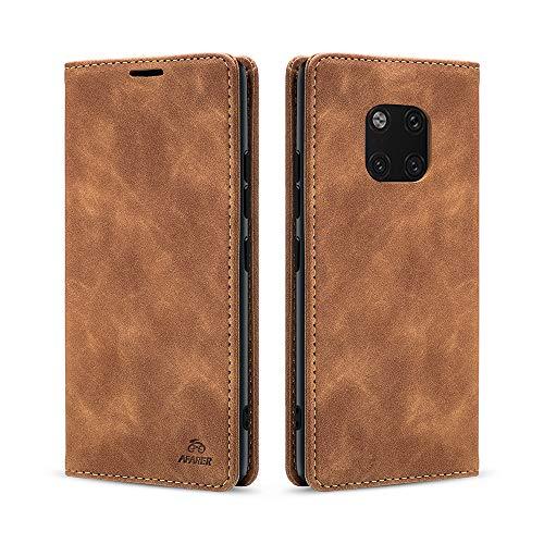 AFARER Huawei Mate 20 Pro hülle,Handyhülle mit Einfache Art Tasche Lederhülle Flip Hülle Brieftasche Handy hülle für Huawei Mate 20 Pro - Brown