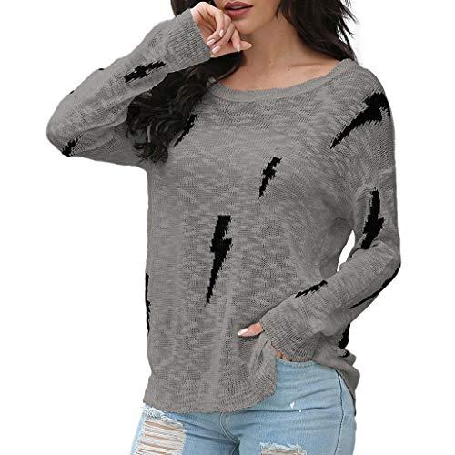 EUCoo Maglioni da donna alla moda a maniche lunghe, con stampa lampo grigio S
