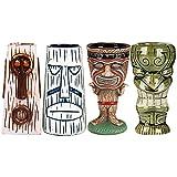 Vinbcorw Tiki Mugs 4 Tazas Tiki para cócteles, Bar Craft Juego de Vasos de cerámica Tiki novedosos cerámica con temática Hawaiana para cócteles y Fiestas, celebración de Festivales de Boda,Q9