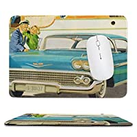 RECASO 50年代 青いインパラ 広告 マウスパッド ゲーミングマウスパッド ゲーム用 ミニサイズ エッジ周辺強化 水洗い 滑り止め 耐久性が良い