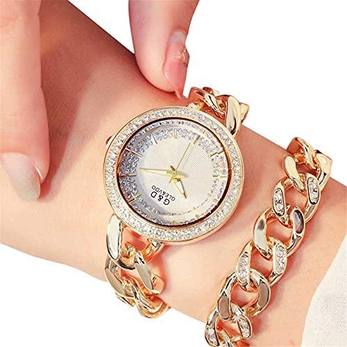 XQKXHZ Relojes de Pulsera Doble de Cuarzo Japonés Analógico para Mujer con Diamantes de Imitación, Cronometraje Preciso, para Festival Reunión Familiar, Gold 2