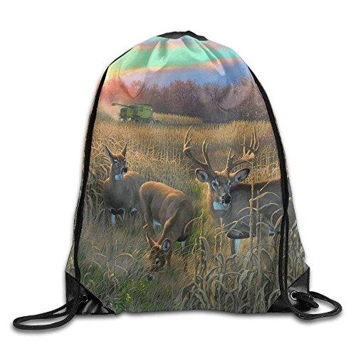 uykjuykj Bolsos De Gimnasio,Mochilas,Unisex Whitetail Deer Painting Animal Print Drawstring Backpack Rucksack...