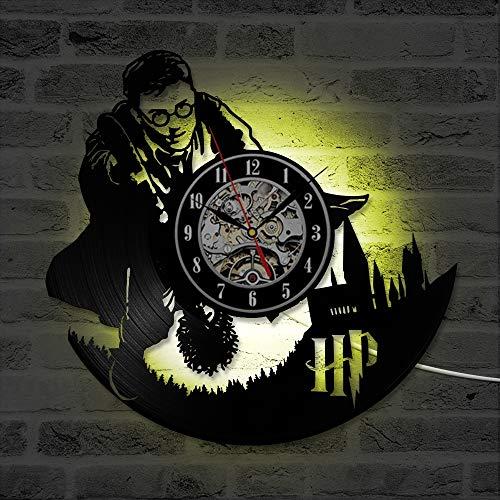 ZhangXF Quidditch Vinyl Record Wanduhr, LED Leuchtende 12 Zoll Retro Vinyl Record Clock Dekoration Sieben Farben