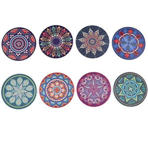 Juego de posavasos de corcho de cerámica de 8 piezas + estante de almacenamiento, flor de mandala, color oscuro