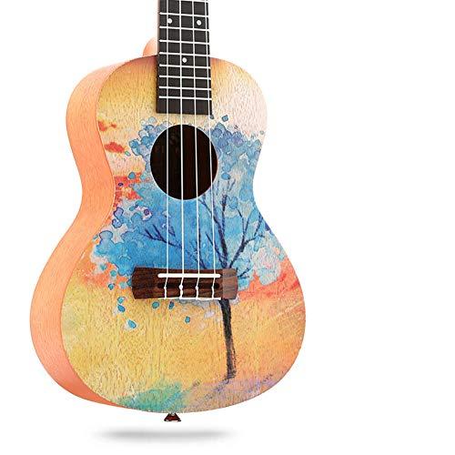 Ning Night Ukulele Kleine Gitarre Instrument Ukulele Kleine Ukulele 23 Zoll Peach Kern Gemalt Laser-Gravur Peach Kern,3