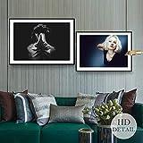 adgkitb canvas Niñas Carteles e Impresiones Pintura de Lienzo en Blanco y Negro Decoración para el hogar Pintura al óleo Arte Imágenes de Pared para Sala de estar58x90cmx2 SIN Marco