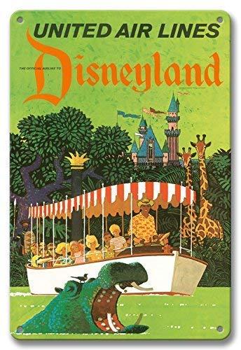 Froy Disneyland California United Air Lines Adventureland Jungle Cruise Hippo by Stan GalliWall Plaque De Tôle Vintage Personnalisé Art Créativité Décoration Artisanat pour Café Bar Garage