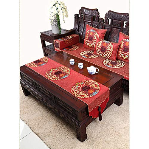 Chemin de table ZHAOSHUNLI Nappe de, Jade Chinois, Table Basse Pastorale, Noble, Auspicious, Harmony (Color : Red, Size : 34 * 300cm)