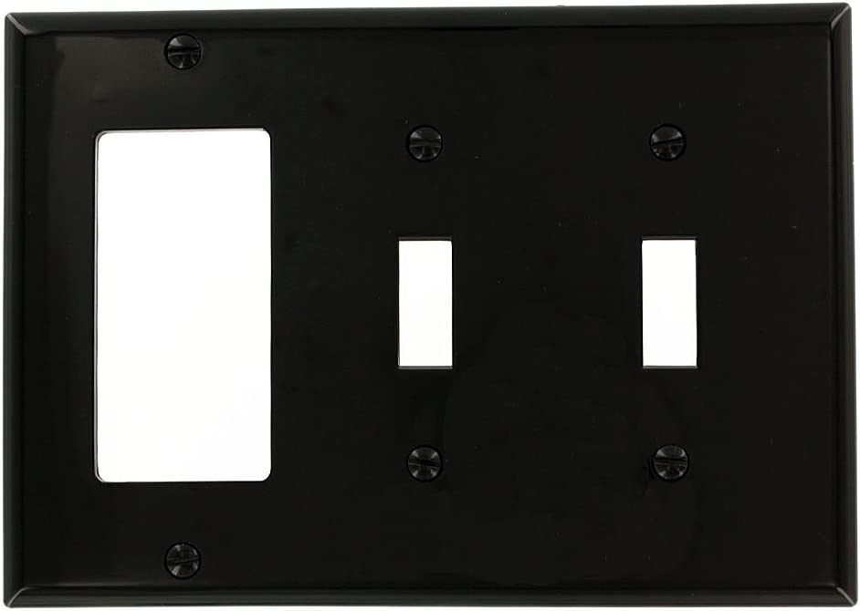 Leviton 80745 E 3 Gang 2 Toggle 1 Decora Gfci Device Combination Wallplate Standard Size Black Switch And Outlet Plates Amazon Com