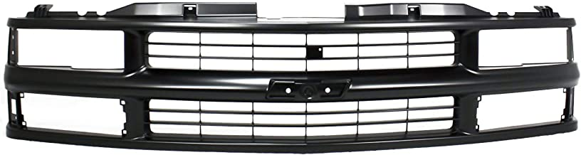 Grille Assembly Compatible with 1994-1999 Chevrolet K1500 Cross Bar Painted Black Shell and Insert with Composite Headlights with Sport Pkg