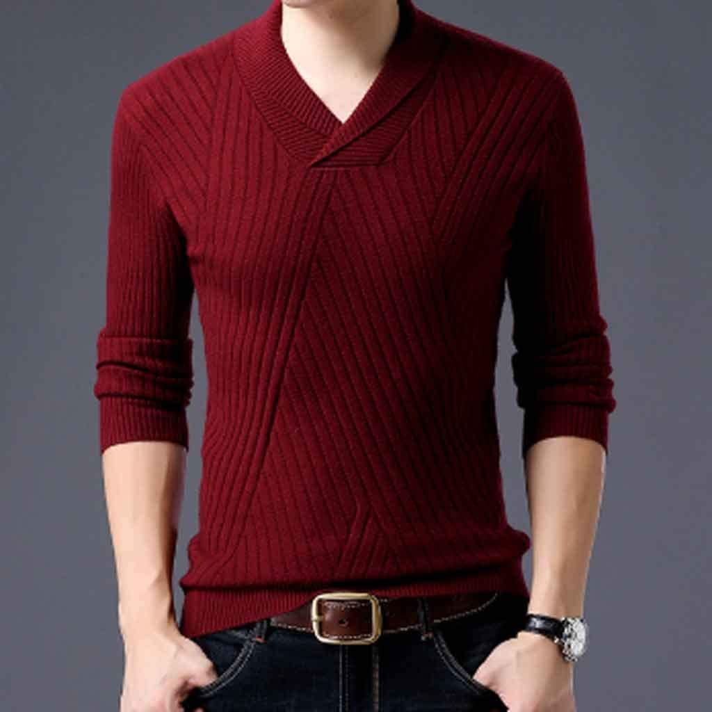 ZYING Weater for Mens Pullovers Neck Slim Fit Jumpers Knitwear Autumn Korean Style Casual Mens Clothes (Color : Style 4)