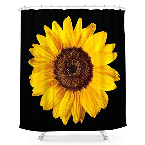 Lightinnhome Duschvorhang mit Sonnenblumen-Blütenmotiv, Schwarz & Gelb, Fotodruck, Blumen, cool Botanik, Naturstoff, wasserfest, für Zuhause, Badewanne, Deko, 12 Stück, Kunststoffhaken, 183 x 183 cm