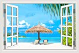 Summer Beach Sunshine Recliner Coconut Tree cielo azul mar nubes Naturaleza Paisaje paisaje Art Deca...