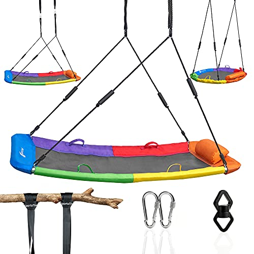 Flying Saucer Tree Swing for Kids and Adults, Giant 850lb Platform Outdoor Swing Set for Backyard Outdoor Indoor Saucer Hammock, Waterproof Durable Steel Frame, Straps, Carabiners, Swivel (Rectangle)
