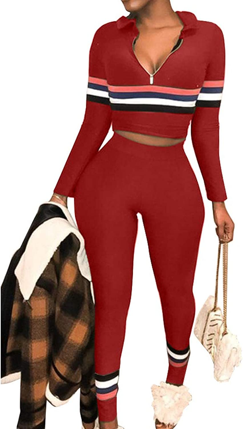 Nhicdns Women's Two Piece Outfits Long Sleeve 1 2 Zipper Striped Tracksuits Set Sweatsuit Bodycon Jumpsuit