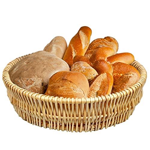 NUTRIUPS Fruit Bread Basket Tray Wicker Fruit Basket Willow Handwoven Basket Willow Woven Basket Wicker Storage Basket Round Wicker Bowls Wicker Food Serving Baskets Round Shallow Basket, 11.8In-1 Pack