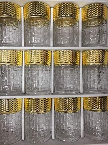 Set de 12 de Vasos de Cristal con para Té marroquí (Dorado)
