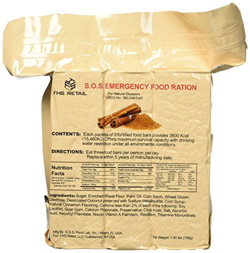 SOS Food Labs SOScin1pk S.O.S. Rations Emergency 3600 Calorie Cinnamon Flavor Food Bar - 3 Day / 72 Hour Package with 5 Year Shelf Life- 1 Pack