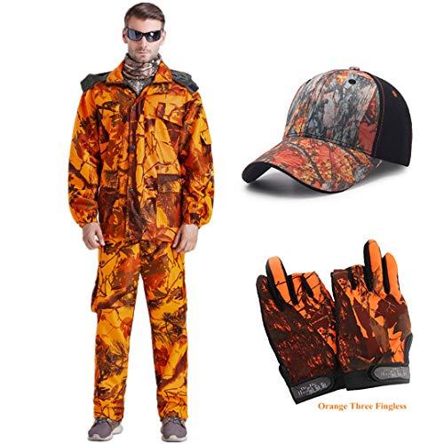 Bionics Chasse Camouflage extérieur Automne Printemps Hommes Pêche Costume Tactique détachable Capuche Coupe-Vent Costume Jacket Pant Cap Glov XXL