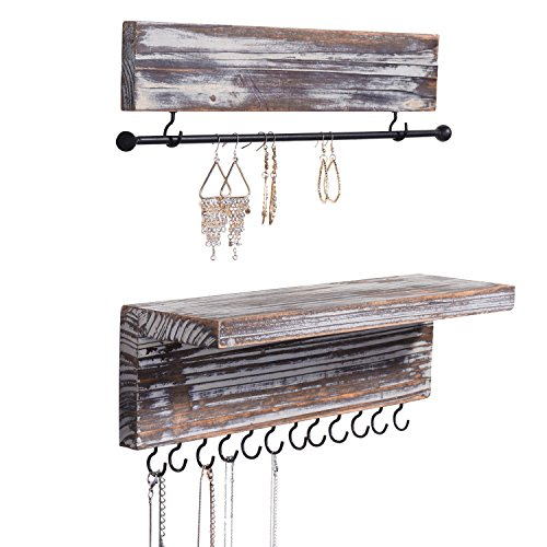 MyGift 2Piece Wall Mounted Rustic Torched Wood Hanging Jewelry Organizers with 12 Hooks Bracelet amp Necklace Bar and Shelf