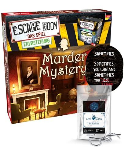 Juego de mesa Escape Room de ampliación Murder Mystery, familias y juegos de sociedad para adultos, solo se puede jugar con el decodificador de crono + 2 pegatinas Escape + 1 adorno de metal