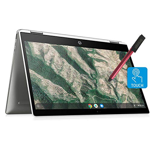 "HP Chromebook X360 14"" Convertible 2-in-1 Touchscreen Laptop Computer_ Intel Celeron N4000 up to 2.6GHz_ 4GB DDR4_ 64GB eMMC_ AC WiFi_ Type-C_ Webcam_ Remote Work_ Chrome OS_ BROAGE 16GB Flash Stylus"