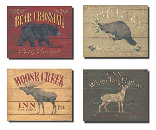 Price comparison product image Rustic Deer Bear Beaver and Moose Sign; Cabin Lodge Decor; Four 10x8in Poster Prints