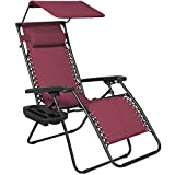 Best Choice Products Folding Steel Mesh Zero Gravity Recliner Lounge Chair w/Adjustable Canopy Shade and Cup Holder Accessory Tray, Burgundy
