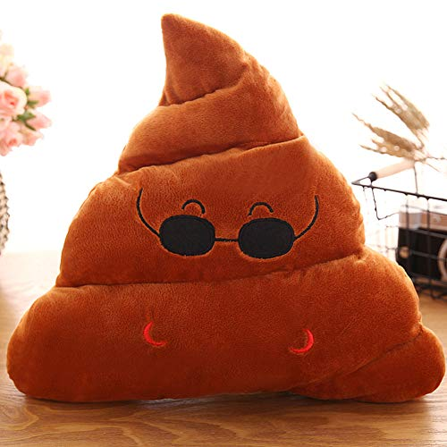 Levinis Cute Poop Throw Pillow- Soft Plush Emoticon Cushion Poop Shape Pillow, 14'' x 12'' ×3.5''