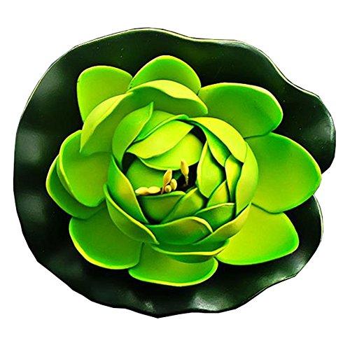 LAAT Schwimmend lotusblüte wassergras Kunststoff wasserpflanzen Seerose deko hohe Simulation Nymphaea Fisch Tank Aquarium Simulation wasserpflanzen (Grün)