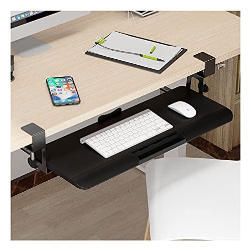 HYE-Table Cajón con Abrazadera para Teclado Debajo de la Mesa Bandeja de Montaje en Escritorio con Ranura para bolígrafo y cajón deslizantes para estantes para Escribir y Usar el Mouse, en el hogar