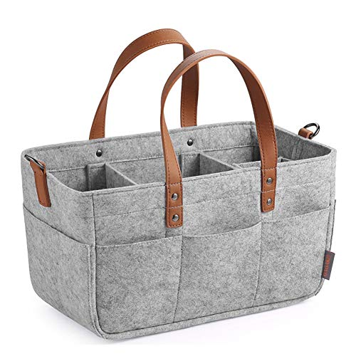 Hothingwell Baby Diaper Changing Table Caddy Organizer, Portable Felt Baby Diaper Bags Autotravel Storage Basket Storage Box Diapers,Gray,33x15x18cm