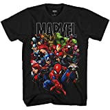 Marvel Avengers Guardians of The Galaxy Team Up All Time Boys Juvy Tee T-Shit(Black,Medium)