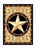 Furnish My Place 626 Star Gold Texas Western Star Decor Cowboy Area Rug Stain Resistant, Latex Backed Rugs, Gold (3'6'x5'6')