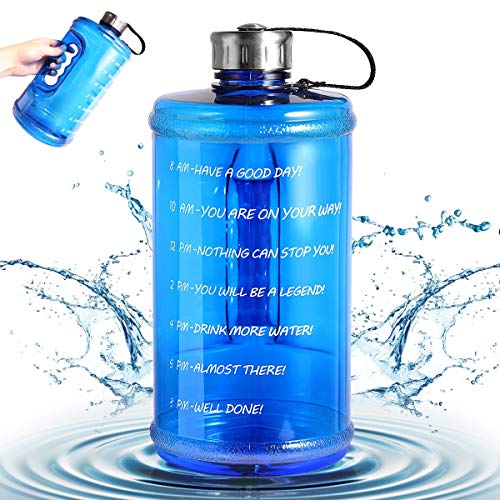 2020 New Motivational Water Bottle, Half Gallon Sport Water Bottle Large BPA Free Jug with Handle Reusable Leak Proof Bottle Time Marked to Drink More Water Daily