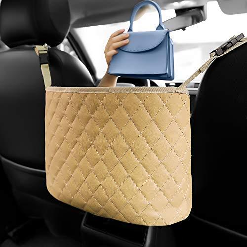 Car Handbag Holder Car Purse Holder Between Seats PU Leather Car Pocket Handbag Holder Front Seat Storage Pet Kid Barrier(Beige)