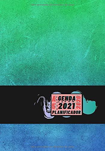 Agenda 2020 2021 Planificador A5: Diseño de Portada Verde Azul playa - Bonitas Agendas semana vista DIN A5- Pequeña y de bolsillo con calendario de 18 ... eventos y fechas en páginas para tu día a dí