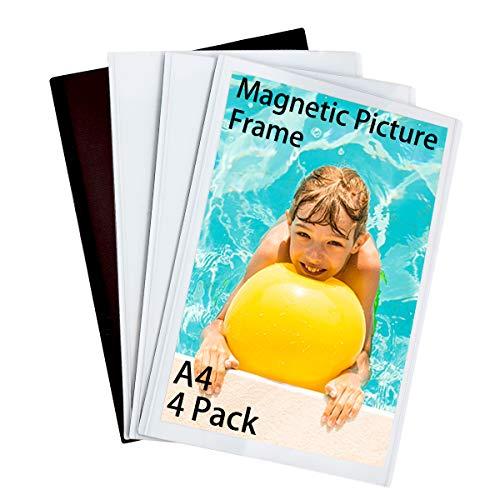 HIIMIEI Marcos de Fotos Magnéticos para Refrigerador A4 (21,0x29,7 cm), Marco de Fotos Imán para Nevera y Pizarra Magnética (Paquete de 4)