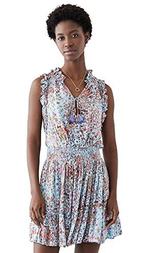 Poupette St Barth Women's Triny Ruffled Mini Dress, Sky Blue Murrina, Small
