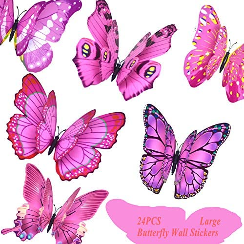 FENELY Giant Butterfly Wall Stickers Decor 3D Large Pink Butterflies Wall Magnetism Decals Removable product image