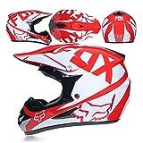 Casco de motocross WSJ para adultos, gafas y máscaras, casco completo para bicicleta de montaña, casco de equitación DOT estándar, para niños, quad, bici, ATV, Go, karting, azul, S., rojo, XLarge