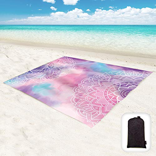 "Hiwoss Sand Proof Beach Blanket,Mandala Waterproof Sand Free Beach Mat Boho Large 71""x 60"" with Corner Pockets,Portable Mesh Bag for Beach Festival,Picnic and Outdoor Camping"