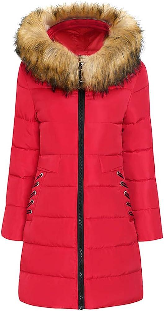 Weiyun Women Winter Warm Coat Faux Fur Hooded Thick Warm Slim Jacket Long Overcoat
